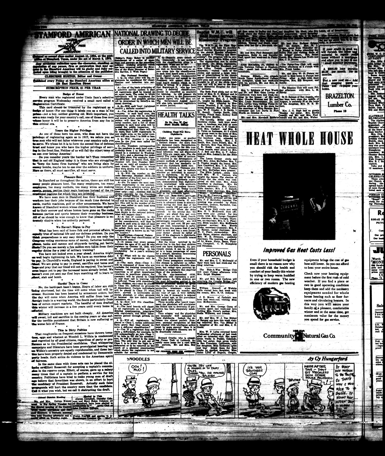 Stamford American (Stamford, Tex.), Vol. 17, No. [30], Ed. 1 Friday, October 18, 1940                                                                                                      [Sequence #]: 2 of 8