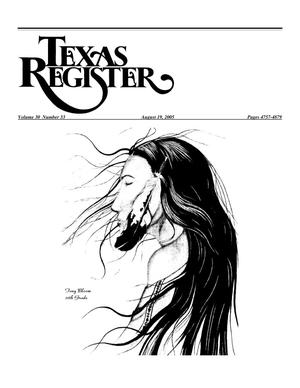 Primary view of object titled 'Texas Register, Volume 30, Number 33, Pages 4757-4879, August 19, 2005'.
