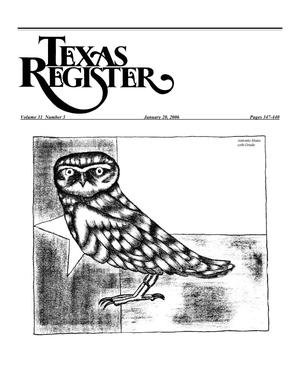 Primary view of object titled 'Texas Register, Volume 31, Number 3, Pages 347-440, January 20, 2006'.