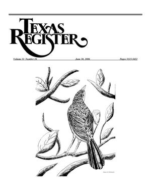 Primary view of object titled 'Texas Register, Volume 31, Number 26, Pages 5215-5422, June 30, 2006'.