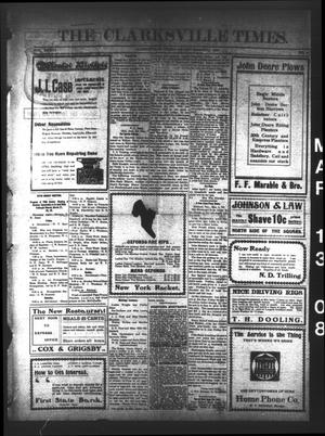 Primary view of object titled 'The Clarksville Times. (Clarksville, Tex.), Vol. 36, No. 21, Ed. 1 Friday, March 13, 1908'.