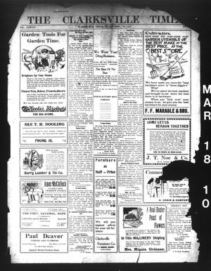 Primary view of object titled 'The Clarksville Times. (Clarksville, Tex.), Vol. 38, No. [22], Ed. 1 Friday, March 18, 1910'.