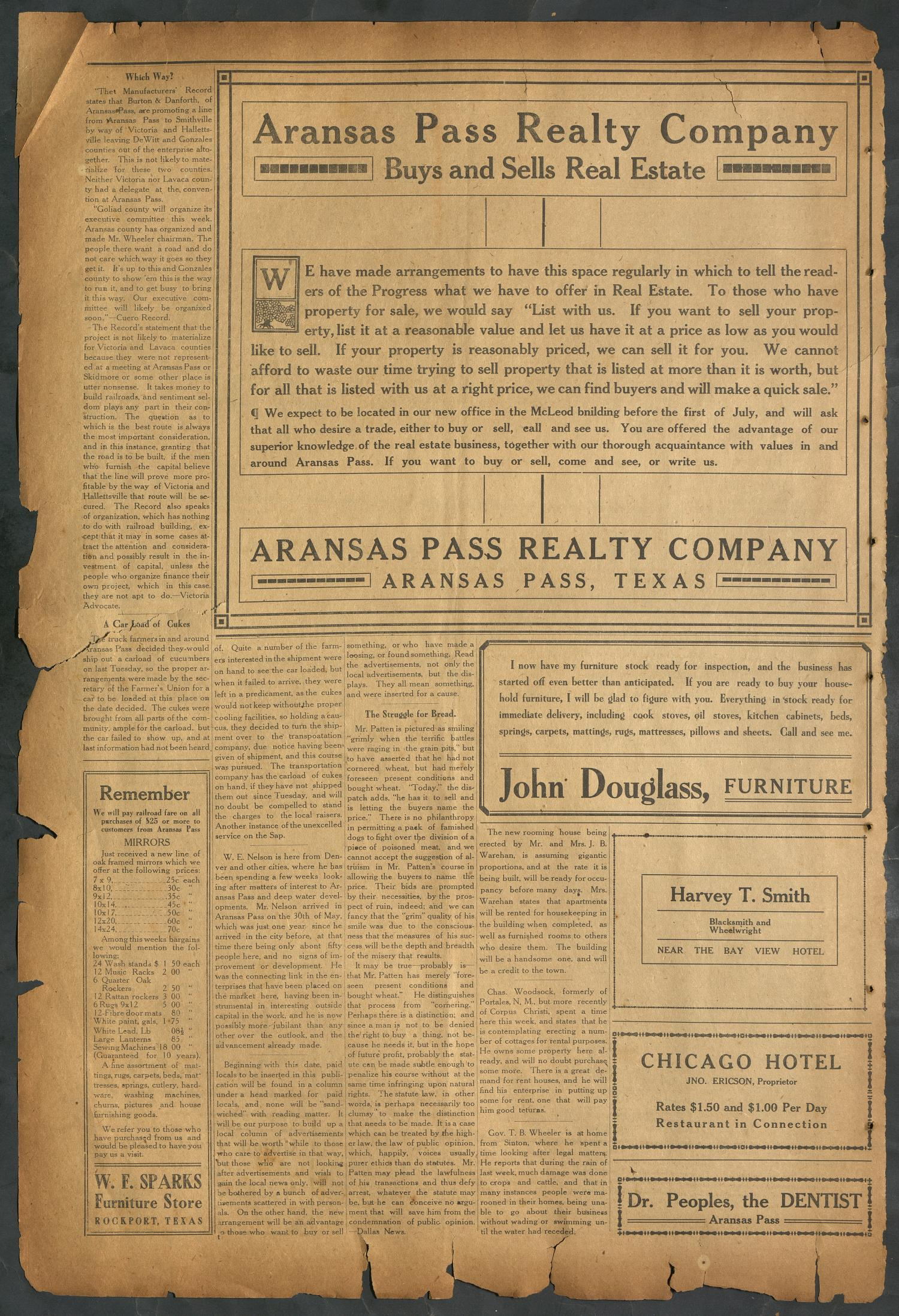 Aransas Pass Progress (Aransas Pass, Tex.), Vol. 1, No. 9, Ed. 1 Friday, June 4, 1909                                                                                                      [Sequence #]: 4 of 4