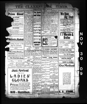 Primary view of object titled 'The Clarksville Times. (Clarksville, Tex.), Vol. 37, No. 95, Ed. 1 Tuesday, November 30, 1909'.