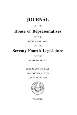 Primary view of object titled 'Journal of the House of Representatives of the Regular Session of the Seventy-Fourth Legislature of the State of Texas, Volume 1'.