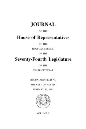 Primary view of object titled 'Journal of the House of Representatives of the Regular Session of the Seventy-Fourth Legislature of the State of Texas, Volume 2'.