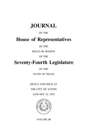 Journal of the House of Representatives of the Regular Session of the Seventy-Fourth Legislature of the State of Texas, Volume 3