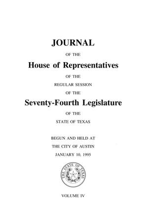 Primary view of object titled 'Journal of the House of Representatives of the Regular Session of the Seventy-Fourth Legislature of the State of Texas, Volume 4'.