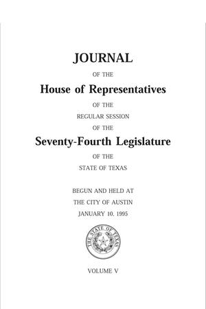 Primary view of object titled 'Journal of the House of Representatives of the Regular Session of the Seventy-Fourth Legislature of the State of Texas, Volume 5'.