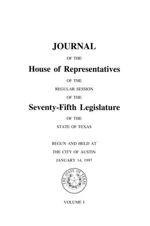 Primary view of object titled 'Journal of the House of Representatives of the Regular Session of the Seventy-Fifth Legislature of the State of Texas, Volume 1'.