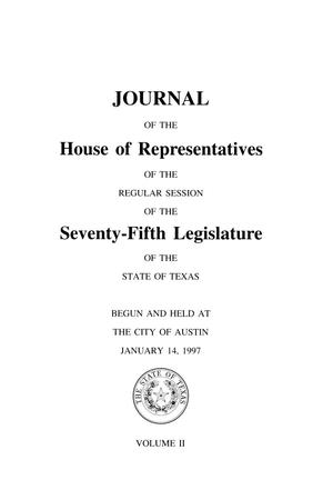 Primary view of object titled 'Journal of the House of Representatives of the Regular Session of the Seventy-Fifth Legislature of the State of Texas, Volume 2'.