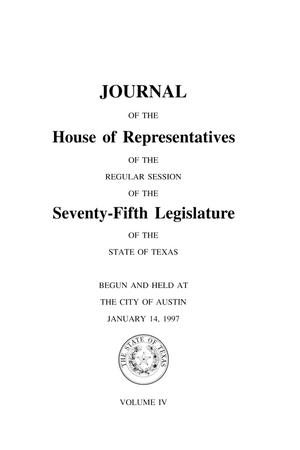 Primary view of object titled 'Journal of the House of Representatives of the Regular Session of the Seventy-Fifth Legislature of the State of Texas, Volume 4'.