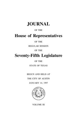 Journal of the House of Representatives of the Regular Session of the Seventy-Fifth Legislature of the State of Texas, Volume 3