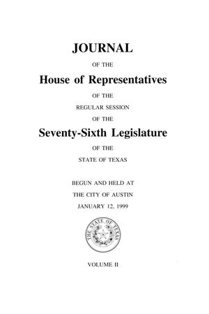 Primary view of object titled 'Journal of the House of Representatives of the Regular Session of the Seventy-Sixth Legislature of the State of Texas, Volume 2'.