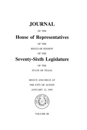 Primary view of object titled 'Journal of the House of Representatives of the Regular Session of the Seventy-Sixth Legislature of the State of Texas, Volume 3'.