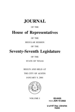 Primary view of object titled 'Journal of the House of Representatives of the Regular Session of the Seventy-Seventh Legislature of the State of Texas, Volume 1'.