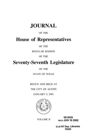 Primary view of object titled 'Journal of the House of Representatives of the Regular Session of the Seventy-Seventh Legislature of the State of Texas, Volume 2'.