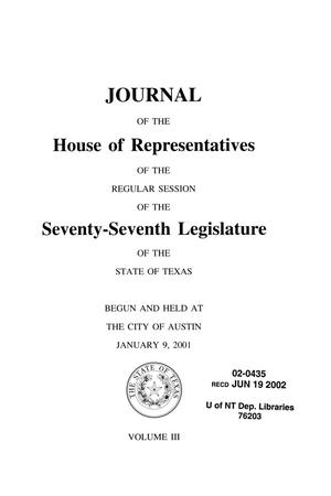 Primary view of object titled 'Journal of the House of Representatives of the Regular Session of the Seventy-Seventh Legislature of the State of Texas, Volume 3'.