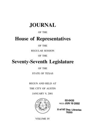 Primary view of object titled 'Journal of the House of Representatives of the Regular Session of the Seventy-Seventh Legislature of the State of Texas, Volume 4'.