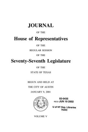 Primary view of object titled 'Journal of the House of Representatives of the Regular Session of the Seventy-Seventh Legislature of the State of Texas, Volume 5'.