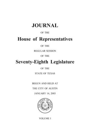 Primary view of object titled 'Journal of the House of Representatives of the Regular Session of the Seventy-Eighth Legislature of the State of Texas, Volume 1'.