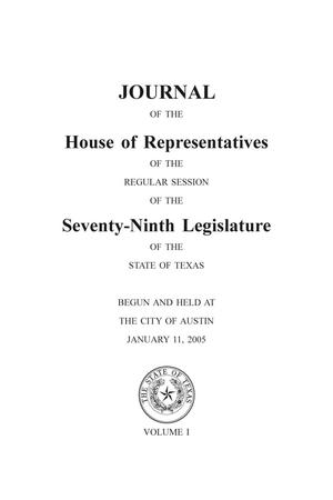 Primary view of object titled 'Journal of the House of Representatives of the Regular Session of the Seventy-Ninth Legislature of the State of Texas, Volume 1'.