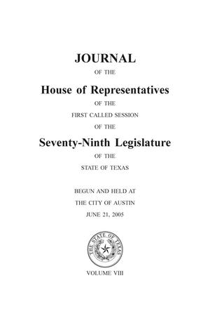 Primary view of object titled 'Journal of the House of Representatives of the Seventy-Ninth Legislature of the State of Texas, Volume 8'.
