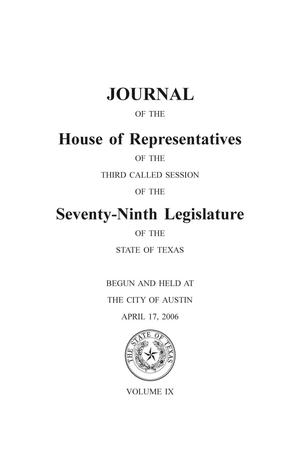 Primary view of object titled 'Journal of the House of Representatives of the Third Called Session of the Seventy-Ninth Legislature of the State of Texas, Volume 9'.