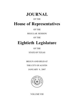 Primary view of object titled 'Journal of the House of Representatives of the Regular Session of the Eightieth Legislature of the State of Texas, Volume 8'.