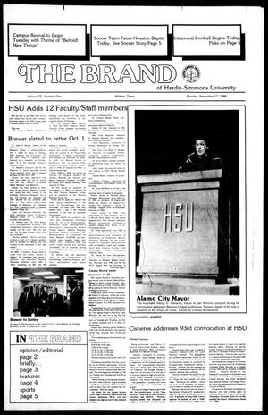 Primary view of object titled 'The Brand of Hardin-Simmons University (Abilene, Tex.), Vol. 72, No. 1, Ed. 1, Monday, September 17, 1984'.