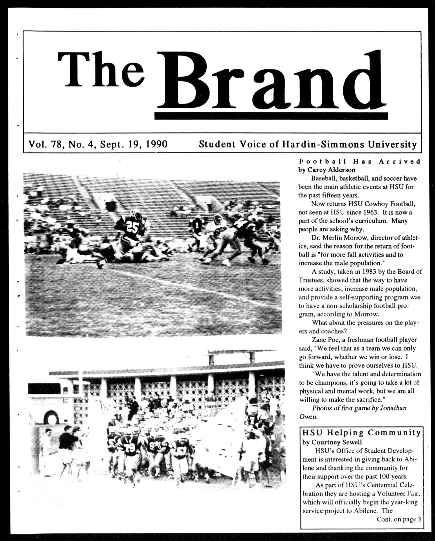 The Brand (Abilene, Tex.), Vol. 78, No. 4, Ed. 1, Wednesday, September 19, 1990                                                                                                      [Sequence #]: 1 of 4