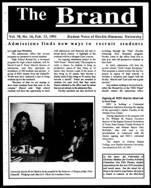 Primary view of object titled 'The Brand (Abilene, Tex.), Vol. 78, No. 16, Ed. 1, Wednesday, February 13, 1991'.