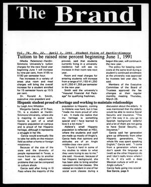 Primary view of object titled 'The Brand (Abilene, Tex.), Vol. 78, No. 22, Ed. 1, Wednesday, April 3, 1991'.