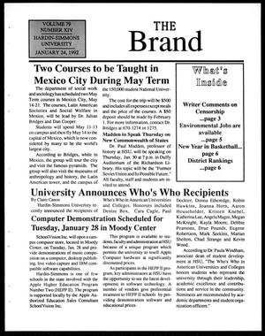 Primary view of object titled 'The Brand (Abilene, Tex.), Vol. 79, No. 14, Ed. 1, Friday, January 24, 1992'.