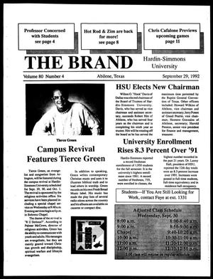Primary view of object titled 'The Brand (Abilene, Tex.), Vol. 80, No. 4, Ed. 1, Tuesday, September 29, 1992'.