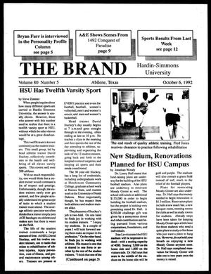 Primary view of object titled 'The Brand (Abilene, Tex.), Vol. 80, No. 5, Ed. 1, Tuesday, October 6, 1992'.