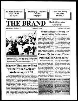 Primary view of object titled 'The Brand (Abilene, Tex.), Vol. 80, No. 7, Ed. 1, Tuesday, October 20, 1992'.