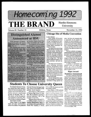 The Brand (Abilene, Tex.), Vol. 80, No. 10, Ed. 1, Thursday, November 12, 1992