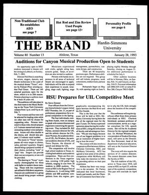 Primary view of object titled 'The Brand (Abilene, Tex.), Vol. 80, No. 13, Ed. 1, Thursday, January 28, 1993'.