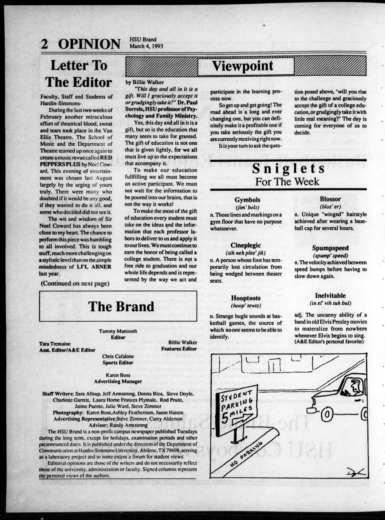 The Brand (Abilene, Tex.), Vol. 80, No. 18, Ed. 1, Thursday, March 4, 1993                                                                                                      [Sequence #]: 2 of 16