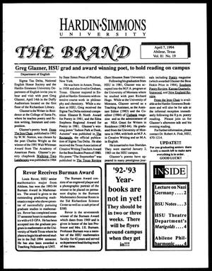 Primary view of object titled 'The Brand (Abilene, Tex.), Vol. 81, No. 19, Ed. 1, Thursday, April 7, 1994'.