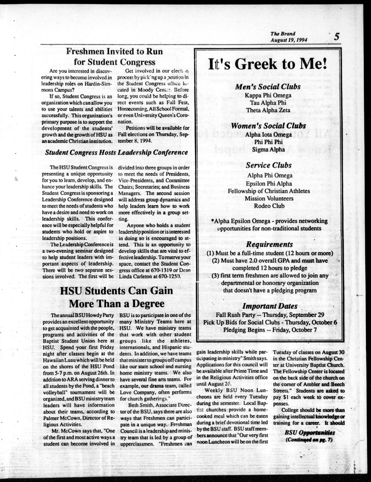 The Brand (Abilene, Tex.), Ed. 1, Friday, August 19, 1994                                                                                                      [Sequence #]: 5 of 8