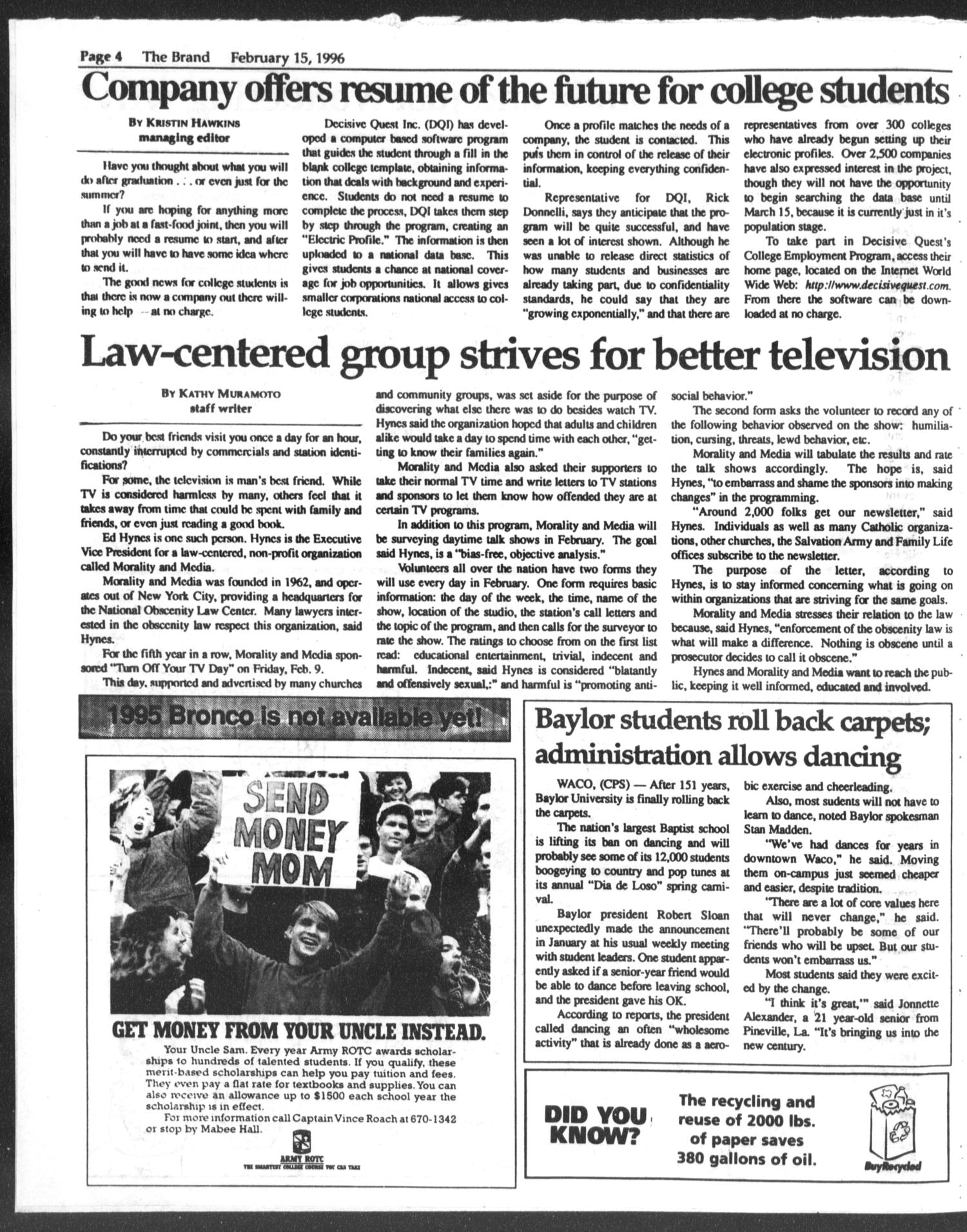 The Brand (Abilene, Tex.), Vol. 83, No. 16, Ed. 1, Thursday, February 15, 1996                                                                                                      [Sequence #]: 4 of 8