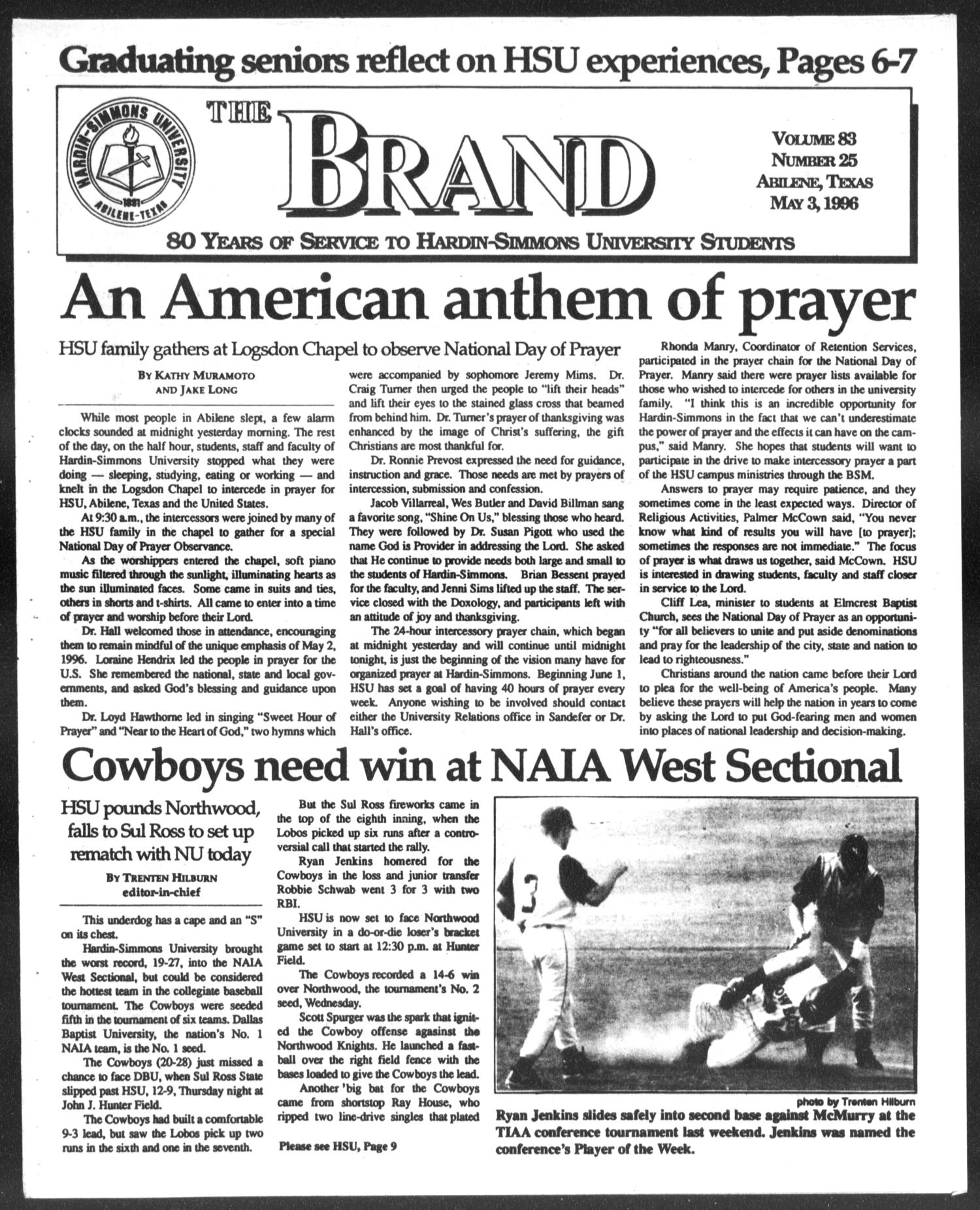 The Brand (Abilene, Tex.), Vol. 83, No. 25, Ed. 1, Friday, May 3, 1996                                                                                                      [Sequence #]: 1 of 11