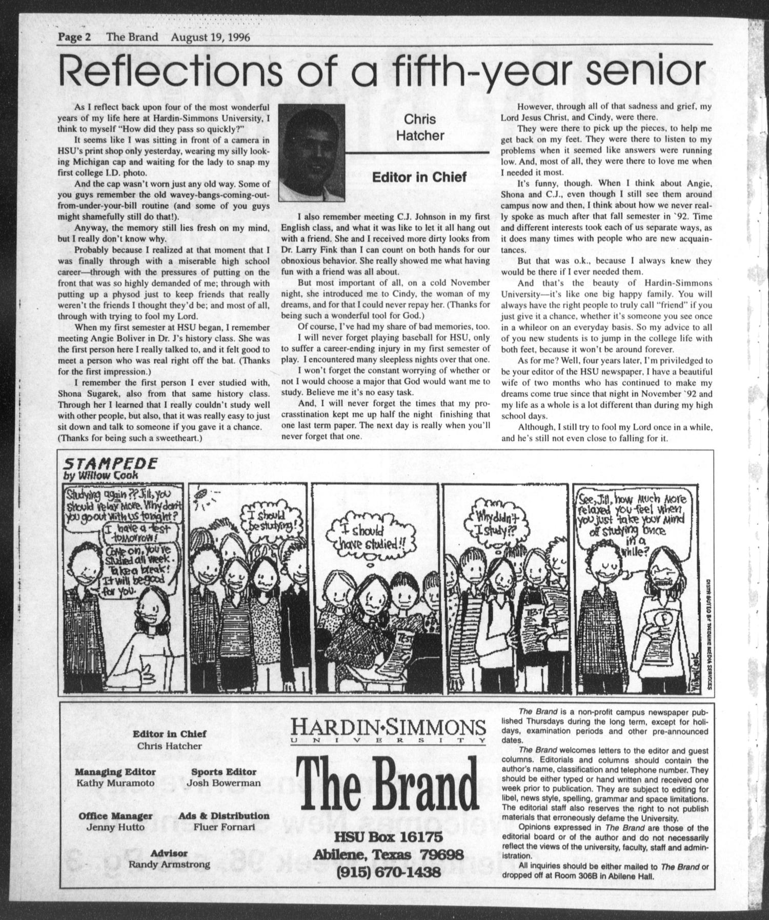 The Brand (Abilene, Tex.), Vol. 84, No. 1, Ed. 1, Monday, August 19, 1996                                                                                                      [Sequence #]: 2 of 12