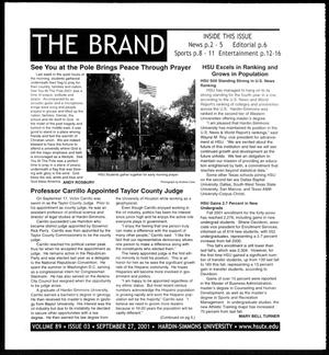 Primary view of object titled 'The Brand (Abilene, Tex.), Vol. 89, No. 3, Ed. 1, Thursday, September 27, 2001'.