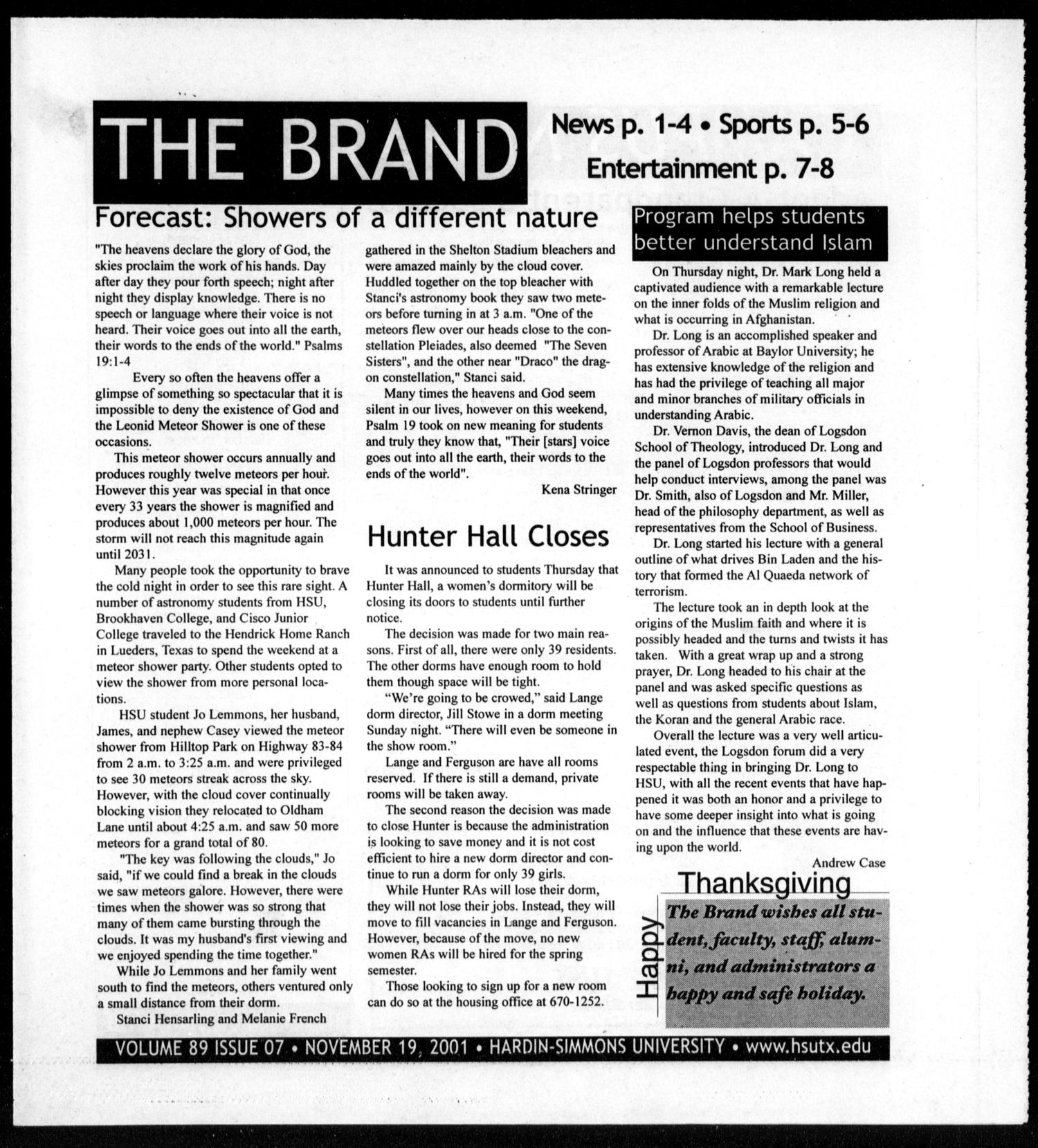 The Brand (Abilene, Tex.), Vol. 89, No. 7, Ed. 1, Monday, November 19, 2001                                                                                                      [Sequence #]: 1 of 8