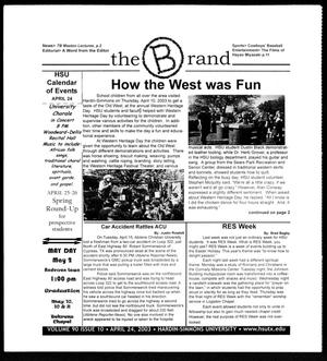 Primary view of object titled 'The Brand (Abilene, Tex.), Vol. 90, No. 10, Ed. 1, Thursday, April 24, 2003'.