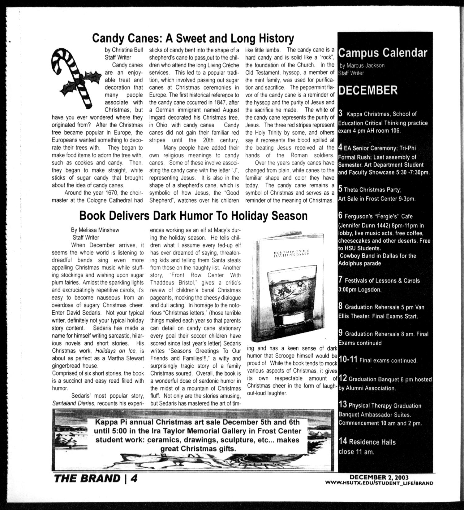 The Brand (Abilene, Tex.), Vol. 91, Ed. 1, Tuesday, December 2, 2003                                                                                                      [Sequence #]: 4 of 16