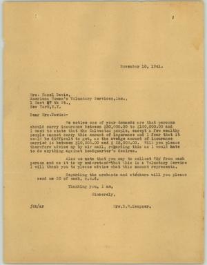 Primary view of object titled '[Letter from Mrs. Kempner to Mrs. Davie, November 10, 1941]'.